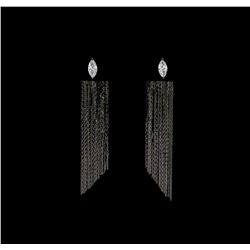 Dangle Crystal Teardrop Earrings - Black Rhodium Plated