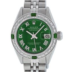 Rolex Ladies Stainless Steel Green Diamond & Emerald Datejust Wristwatch