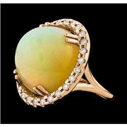 20.70 ctw Opal and Diamond Ring - 14KT Rose Gold