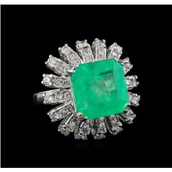 GIA Cert 9.65 ctw Emerald and Diamond Ring - 14KT White Gold