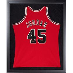Michael Jordan Signed Bulls 32x44 Custom Framed Authentic Mitchell  Ness #45 Jersey (UDA COA)