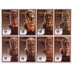 Lot of (8) Colts LE Bronze Bust Football Hall of Fame Postcards with (4) Unsigned Postcard,  (4) Sig