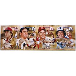 """Hall Of Fame Catchers 12"""" x 36"""" Photo Signed by (4) With Carlton Fisk, Yogi Berra, Johnny Bench  Gar"""