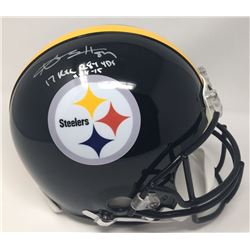 "Antonio Brown Signed Steelers LE Full-Size Authentic On-Field Helmet Inscribed ""17 Rec 284 Yds 11-18"