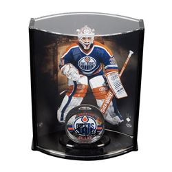 Grant Fuhr Signed Acrylic Hockey Puck  Limited Edition Goaltender Curve Display Case LE 31 (UDA COA)