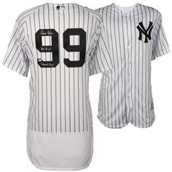 "Aaron Judge Signed LE Authentic Yankees Jersey Inscribed ""All Rise!""  ""Judement Day! (Fanatics)"