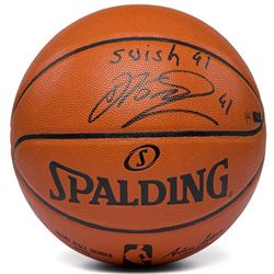 """Dirk Nowitzki Signed Limited Edition NBA Game Ball Series Basketball Inscribed """"Swish 41"""" (Panini CO"""