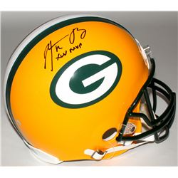 """Aaron Rodgers Signed Packers Full-Size Authentic On-Field Helmet Inscribed """"XLV MVP"""" (Steiner Hologr"""