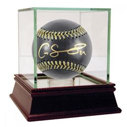 Gary Sanchez Signed Black Leather Baseball with High Quality Display Case (Steiner COA)