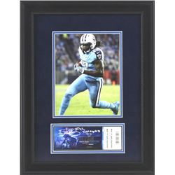 "Derrick Henry Signed Titans 16x21 Custom Framed Ticket Display Inscribed ""Ticket To My First TD"" (Ra"