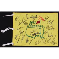 2012 Masters Tournament Pin Flag Signed by (28) with Arnold Palmer, Bubba Watson, Phil Mickelson, Fu