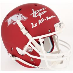 "Steve Atwater Signed Arkansas Razorbacks Custom Matte Red Full-Size Helmet Inscribed ""2x All-America"