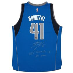 """Dirk Nowitzki Signed Mavericks Limited Edition Adidas Jersey Inscribed """"16/17 Teammate of the Year"""""""