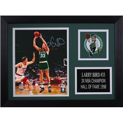 Larry Bird Signed Celtics 14x18.5 Custom Framed Photo Display (Beckett COA)