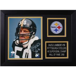 Jack Lambert Signed Steelers 14x18.5 Custom Framed Photo Display (JSA COA)
