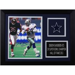 Deion Sanders Signed Cowboys 14x18.5 Custom Framed Photo Display (JSA COA)