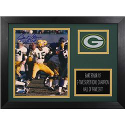 Bart Starr Signed Packers 14x18.5 Custom Framed Photo Display (TriStar Hologram)