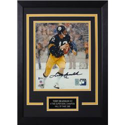 Terry Bradshaw Signed Steelers 14x18.5 Custom Framed Photo Display (Beckett COA  Bradshaw Hologram)