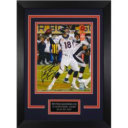 Peyton Manning Signed Broncos 14x18.5 Custom Framed Photo Display (JSA COA)