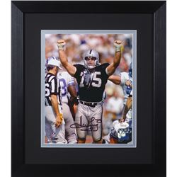 Howie Long Signed Raiders 13.75x15.5 Custom Framed Photo Display (JSA COA)