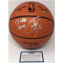 """Stephen Curry Signed NBA Game Ball Series Basketball Inscribed """"17 NBA Champs"""" (Steiner COA)"""