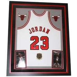 "Michael Jordan Signed Bulls 36x44 Custom Framed Limited Edition Jersey Display With ""Class of 2009"""