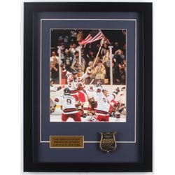 "1980 Team USA ""Miracle on Ice"" 16x21 Custom Framed Photo with USA Bronze Emblem"