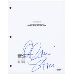 """Oliver Stone Signed """"Wall Street"""" Movie Script Cover (PSA COA)"""