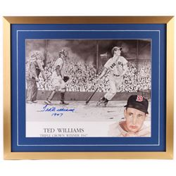 """Ted Williams Signed Red Sox 24x28 Custom Framed Photo Display Inscribed """"1947"""" (Williams COA)"""