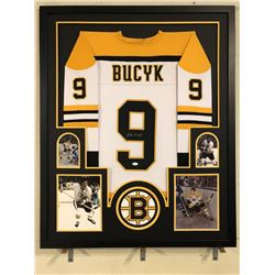 Johnny Bucyk Signed Bruins 34x42 Custom Framed Jersey (JSA COA)