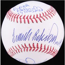 Rick Dempsey, Brooks Robinson  Frank Robinson Signed OML Baseball with (3) Inscription (JSA COA)