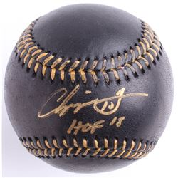 "Chipper Jones Signed Black Leather OML Baseball Inscribed ""HOF 18"" (Beckett COA)"