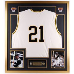 Roberto Clemente Pirates 34x38 Custom Framed Jersey Display with (2) Replica World Series Rings