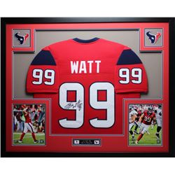 "JJ Watt Signed Texans 35"" x 43"" Custom Framed Jersey (JSA COA)"