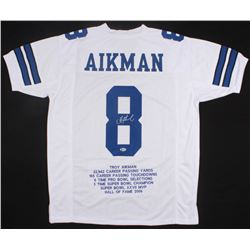 Troy Aikman Signed Cowboys Career Highlight Stat Jersey (Beckett COA)