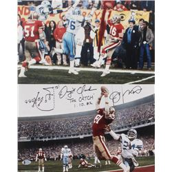 "Joe Montana  Dwight Clark Signed 49ers 16x20 Photo Inscribed ""The Catch""  ""1.10.82"" With Hand-Drawn"