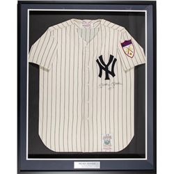 """Mickey Mantle Signed 1951 Yankees 34x41 Mitchell  Ness Custom Framed Jersey Display Inscribed """"NO. 7"""