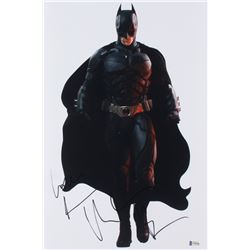 "Christian Bale Signed ""The Dark Knight"" 12x18 Photo (Beckett Hologram)"
