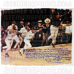 "Cecil Fielder Signed Yankees ""1996 World Series Win"" 22x26 Canvas with Handwritten Story Inscription"