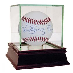"Darryl Strawberry  Jacob deGrom Signed OML Baseball Inscribed ""83 ROY""  ""2014 ROY"" with Display Case"