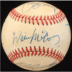 500 Home Run Club OAL Baseball Signed by (7) With Ted Williams, Harmon Killbrew, Willie Mays,  Frank