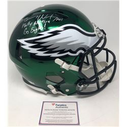 "Carson Wentz Signed LE Eagles Full-Size Chrome Authentic On-Field Helmet Inscribed ""Philly Nation"","