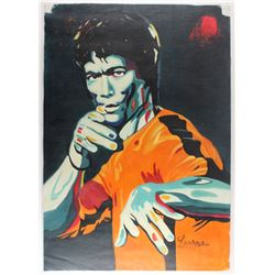 "Longyun Bruce Lee ""Game of Death"" 24x34 Original Oil Painting on Linen (PA LOA)"