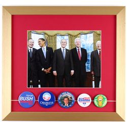 U.S. Presidents 15x16 Custom Framed Photo Display with (5) Vintage Campaign Pins