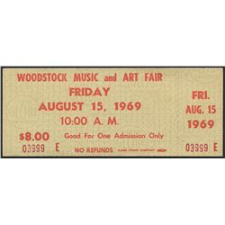 Authentic Unused Woodstock Ticket from Friday August 15, 1969
