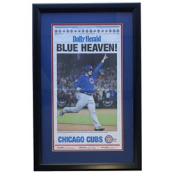 """Chicago Cubs Daily Herald """"Blue Heaven!"""" 18"""" x 28"""" Custom Framed Newspaper Display"""