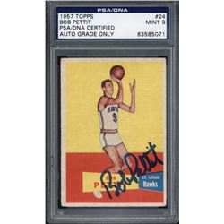 Bob Pettit Signed 1957-58 Topps #24 RC (PSA Encapsulated  Auto Grade 9)