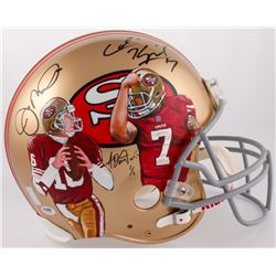 Joe Montana  Colin Kapernick Signed LE Hand-Painted 49ers Full-Size Authentic Helmet (PSA COA  Monta