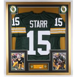 Bart Starr Signed Packers 32x36 Custom Framed Cut Display with Super Bowl Championship Rings (PSA LO