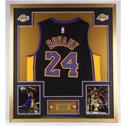 Kobe Bryant Lakers 34x38 Custom Framed Jersey Display with Replica Championship Rings